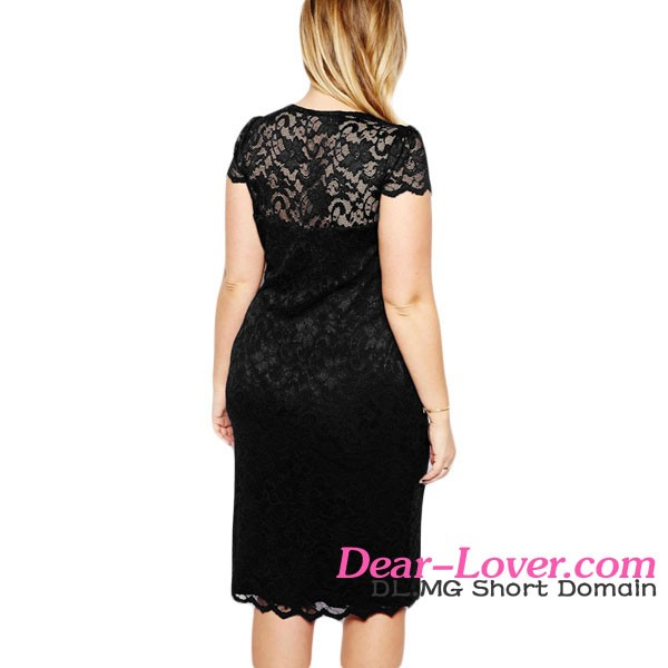 Cheap Black Scalloped V-neck Lace Plus Size Sexy Summer Dresses