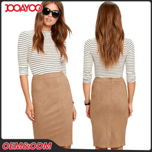 Fashionable Latest Ladies Office Skirt Designer Back Zipper Suede Midi Pencil Skirts Women