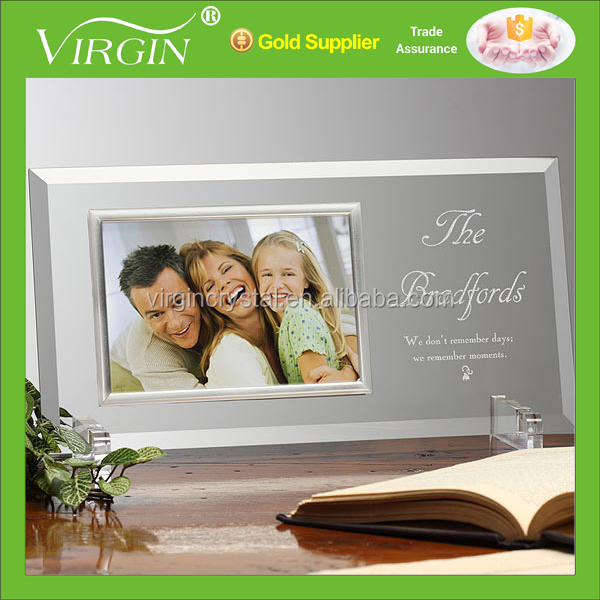 Wholesale engraved crystal glass photo picture frame for Family