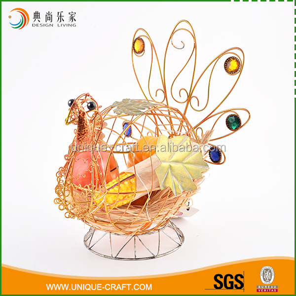 Unique design fall hollow harvest wire peacock home decoration items