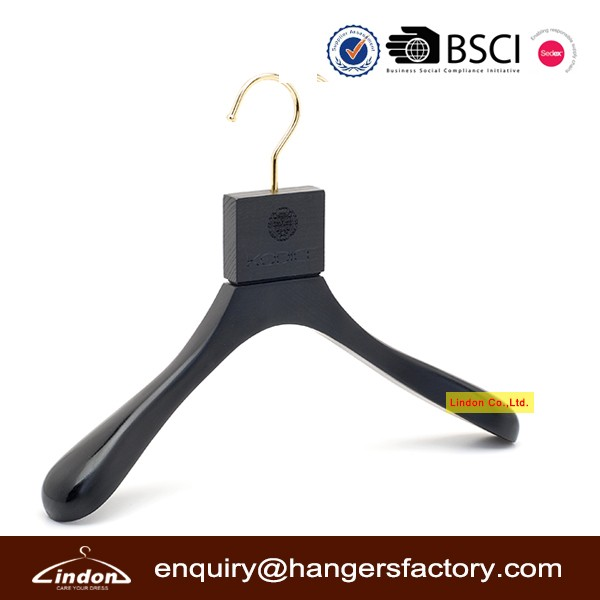 Assessed Supplier LINDON special head and gold hook black wood custom hangers