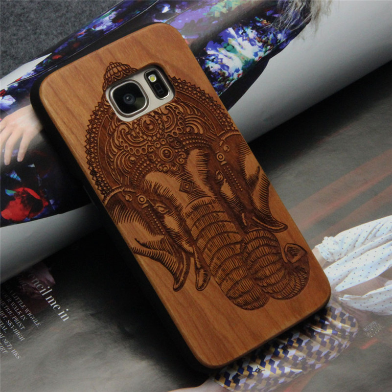 2016 customized design rosewood PC frame wooden case for samsung s7 s7 edge wood cover