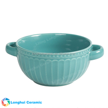 13cm pasta fruit noodle liling color binaural ceramic embossed bowl