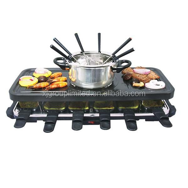 Raclette grill mit fonduetopf f r 12 personen elektrischer grill und elektrisches kuchenblech - Raclette pour 12 personnes ...