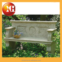 Outdoor stone and wood garden piano bench with backrest
