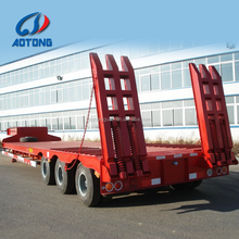 China good quality low flatbed semi trailer supplier tri-axle 60T lowboy truck dimensions