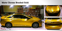 3M Car Body Changing Gold Matte Chrome Brushed Wrap Self Adversive Vinyl Sticker