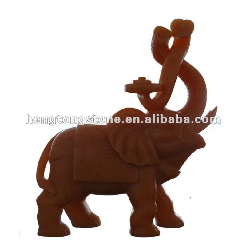 Marble Elephants Statue with Chinese Jade Ruyi Carving