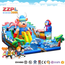 ZZPL Cartoon Penguin Inflatable Fun City for kids, Commercial Inflatable Amusement Equipment on sale