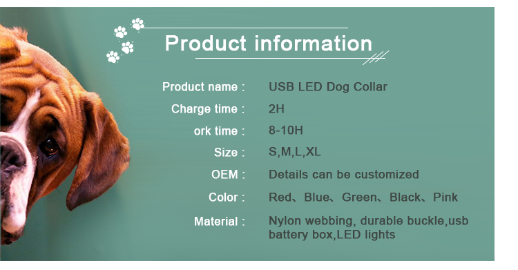 Improved Visibility & Safety light up Glowing pet safe & luminous adjust Flash USB Rechargeable dog Collar LED custom for dog
