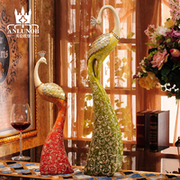 Resin Peacock figurine for gift, colorful resin crafts Decoration Animal Statue Of Bird Peacock
