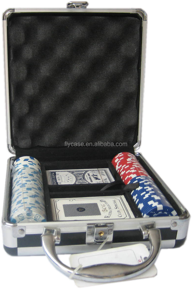 100pcs aluminum poker chip game set with aluminum case with 11.5g stickers
