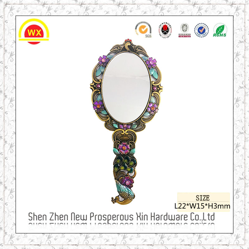 Wholesale metal decorative souvenir customized hair salon hand mirror