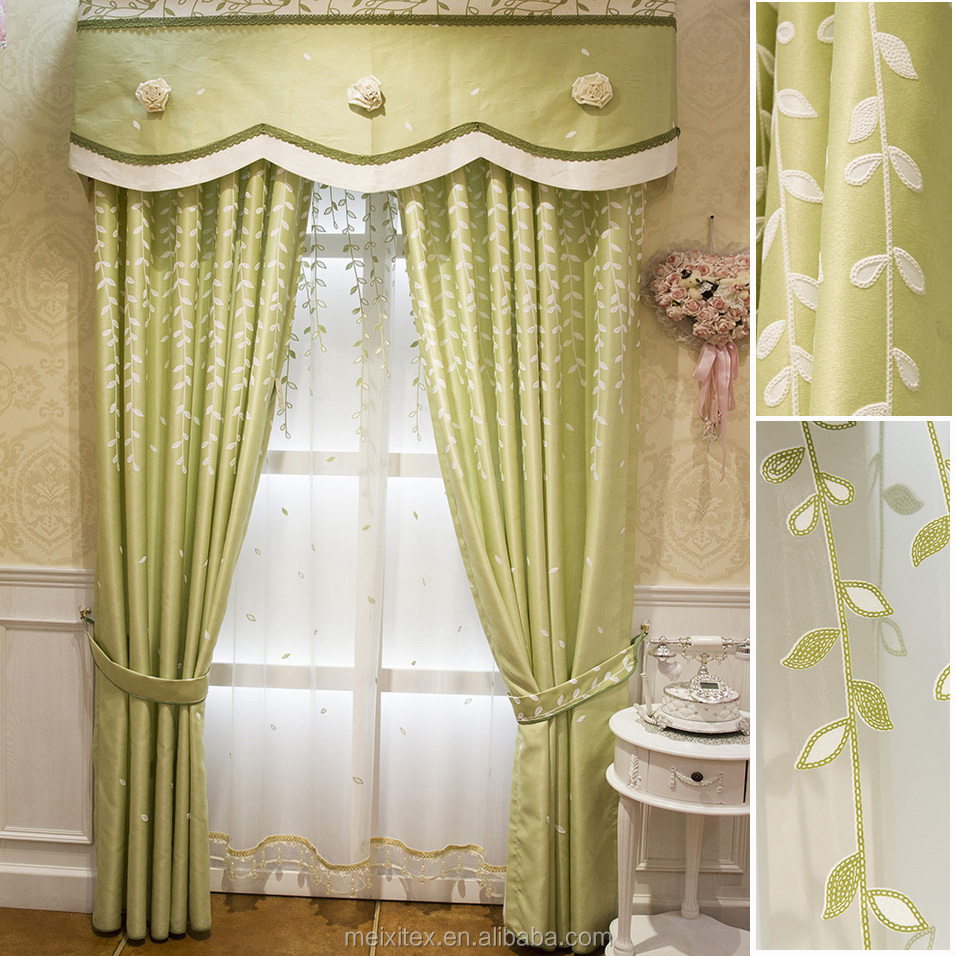 simple curtain sheer embroidery Chinese curtain, Modern Blackout Green Embroidery Turkey Village Curtain With Voile