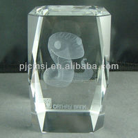 Customized 3D Laser Crystal Cube Paperweight With Snake