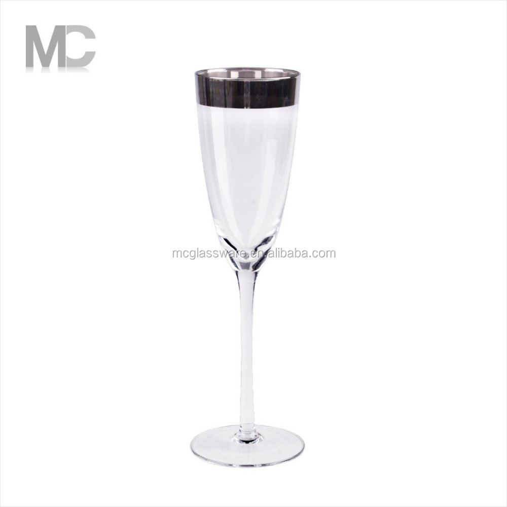 Wholesale Handmade Home Decoration Fancy sliver glass Champagne flute