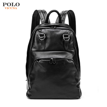 Men's Multifunction Casual Travel Black PU Leather Fashion Backpack Bag