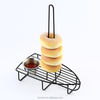 Restaurant onion rack with sauce cup holder, Boat shaped metal bread holder F0103
