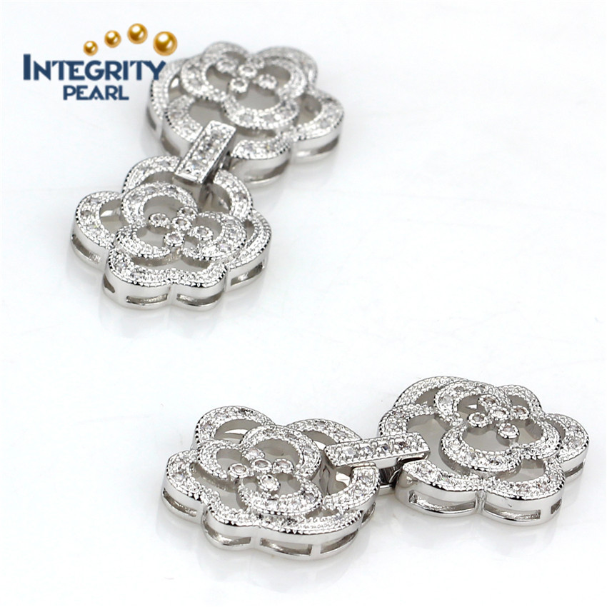 large flower shape white gold plated cheap jewelry findings jewelry clip clasp