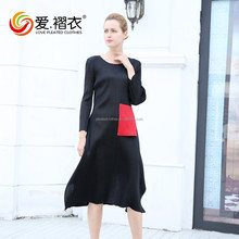 Wholesale Customized pleated long dress fashion lady black dress with one pocket