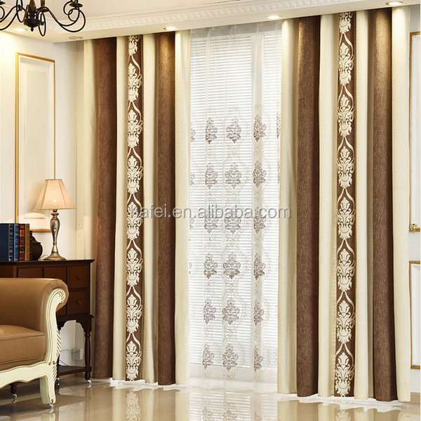 Latest European Luxury Style Embroidered Lace Blackout Curtains and Draps