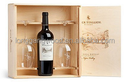 Wholesale cheapest high grade custom logo printed fashion designed wooden wine boxes/wooden wine crate/wooden wine case