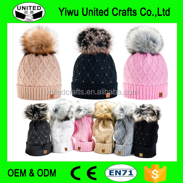 Women Winter Beanie Hat Wool Knitted Cap Ladies Fashion Large Fur Pom Pom