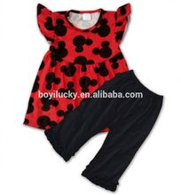red girl flutter dress and black shorts boy clothes baby cotton frocks designs