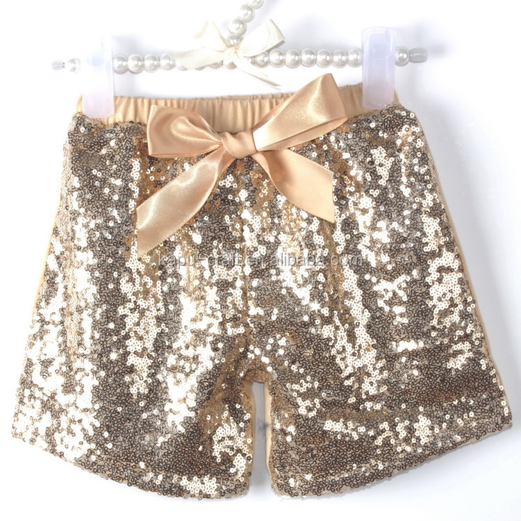 2016 baby gold sequin shorts wholesale gold sequin shorts for children