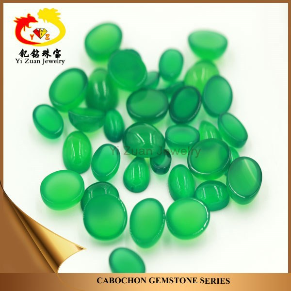 Fashionable designs natural oval cabochon stone dark green agate