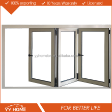 China supplier aluminium frame tempered glass bifold window/ sliding folding glass window
