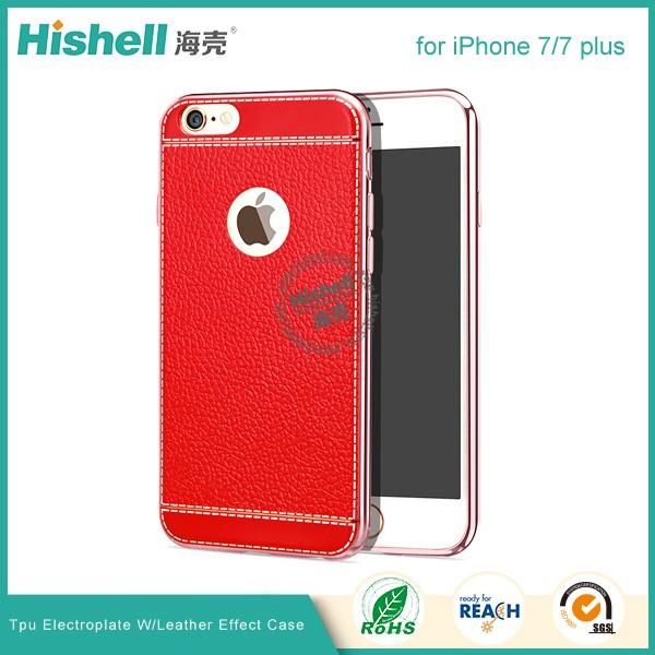 PU leather electroplate frame phone case for iPhone 7