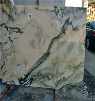 Transparent onyx stone landscape look pattern book matched slabs marble and granite polish