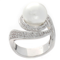 Ring Guards 925 Sterling Silver Women Pearl Ring With Diamonds