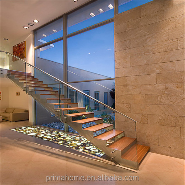 Indoor Glass Stair Railing Design For Steel Wood Staircase Steps For Villar Project