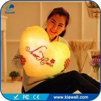 Custom soft heart shape colorful night light plush toy for valentine day