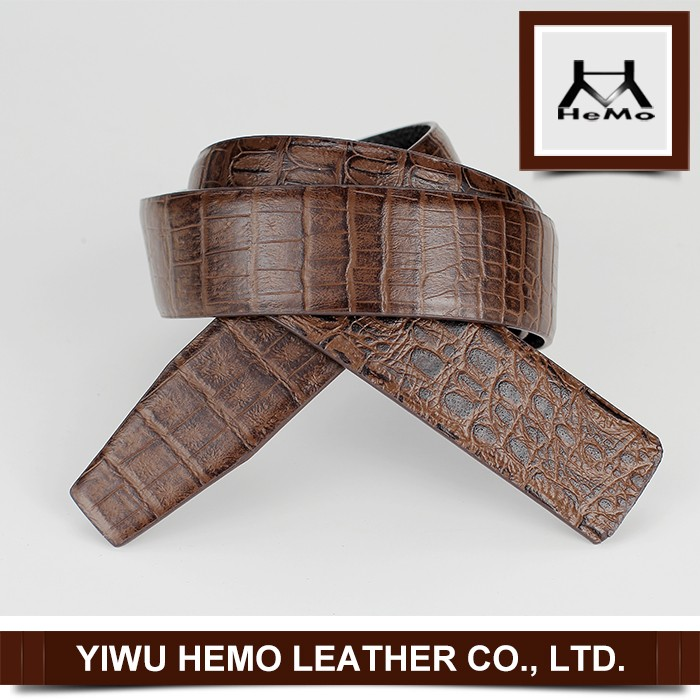 2016 Men Fashion Crocodile Belt Strap Full Grain Leather