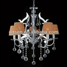 steel chandelier with leather luster shade