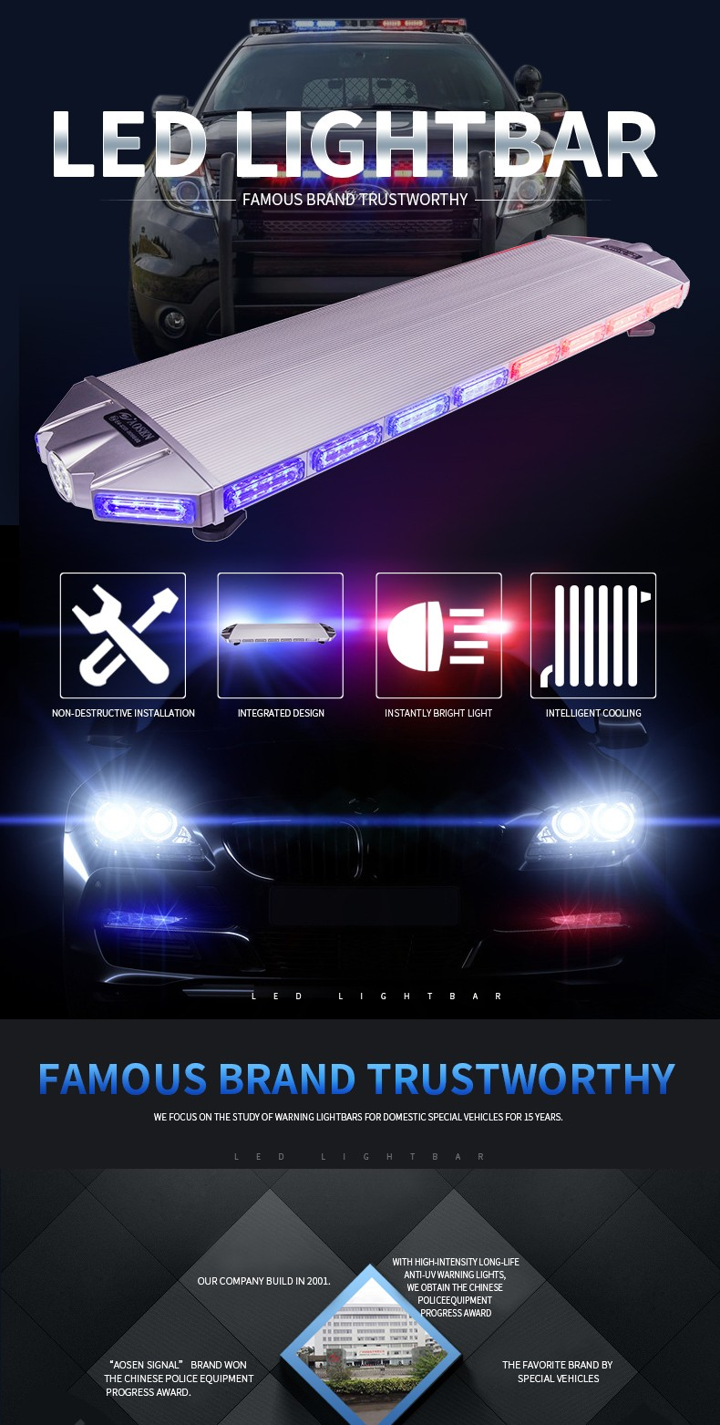 Newest Amber led lightbar TBD-7E925 with trade assurance