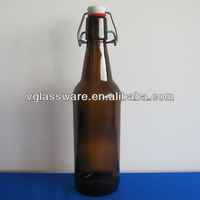 500ml amber beer glass bottle with wire hood swing top