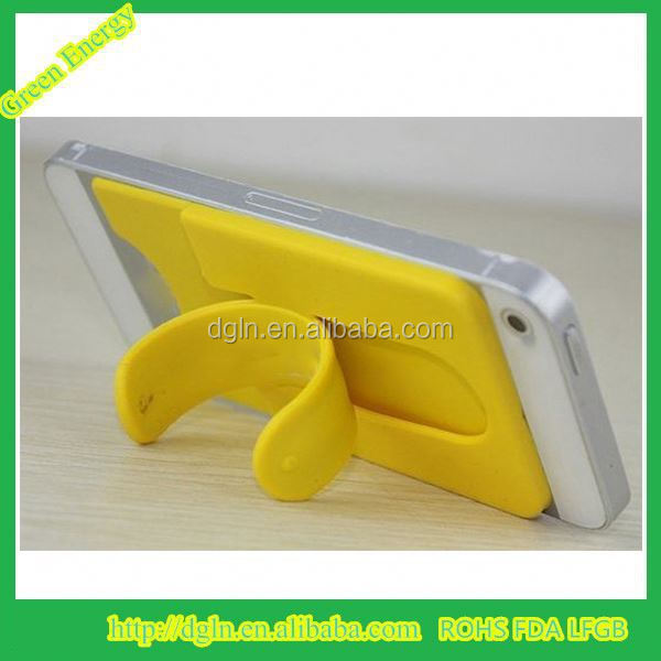 Customized printing silicone 3M adhensive back card holder/ mobile phone pouch