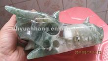 Miraculous Green Fluorite stone caved dragon head skull for sale,jade carvings imitation