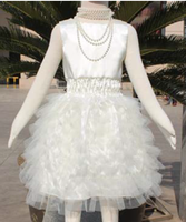 2015 wholesale Hot sale white lace bloomer chiffon voile baby flower girl wedding dress
