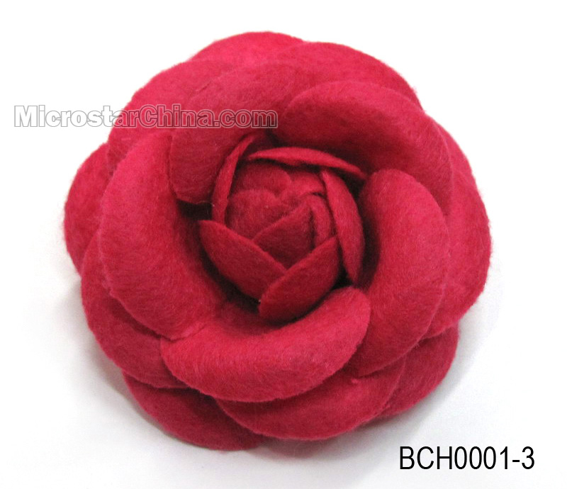Red Costume Rose Non-Woven Fabric Flower Brooch