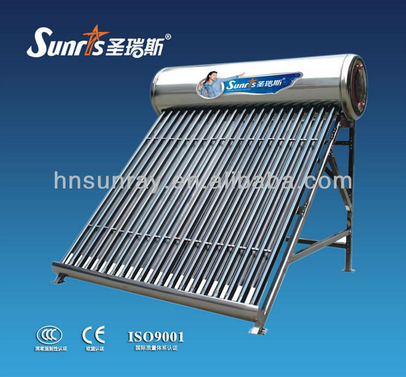 High absorption non-pressurized solar water heater stainless steel