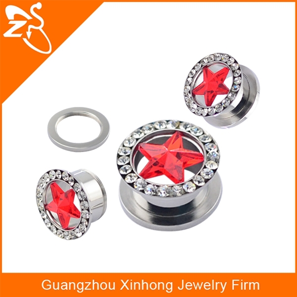316L Surgical Steel Screw Fit Hollow Tunnel with Red Star Gem and Multi-Gemmed Rim gauges expanders