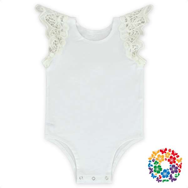 Hot Fashion Solid White Color Baby Romper Infant Shoulder Lace Trim Sleeveless Romper Clothes Wholesale Knit Cotton Baby Romper