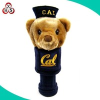 wholesale custom plush stuffed knitted animal golf head cover
