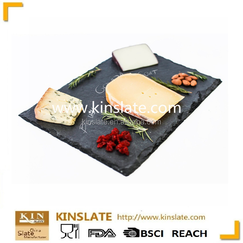 [factory direct] The king of quality eco-friendly natural black slate cooking stone plate With Eva Feet