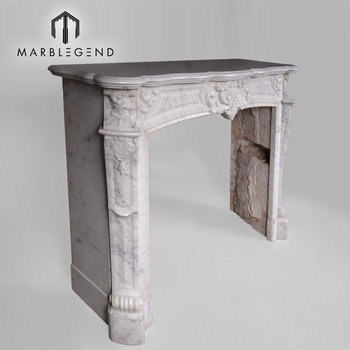 Classic natural bianco carrara cultured marble slab fireplace surround